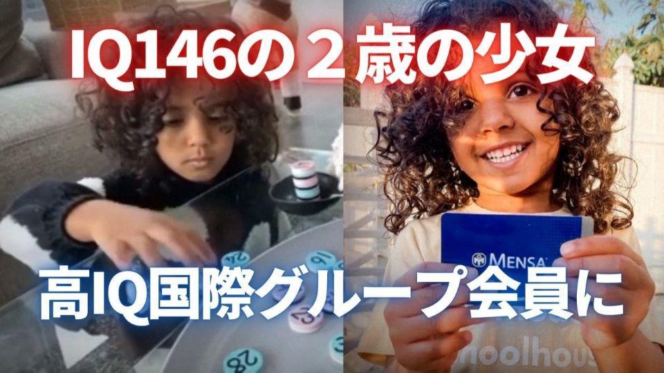 IQ146の2歳 最年少で高IQ国際グループ会員