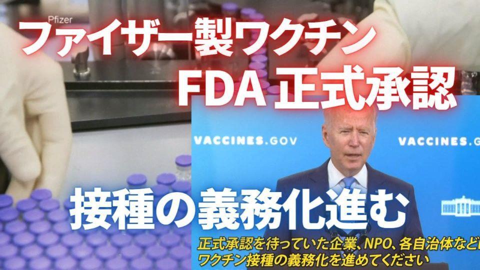 ファイザー製ワクチン正式承認 接種の義務化進む