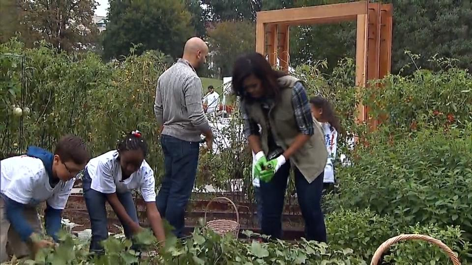 ホワイトハウスの菜園でオバマ夫妻最後の収穫