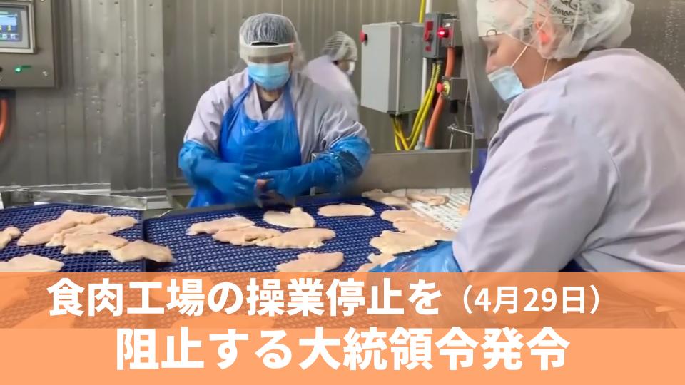 4月29日  食料品不足続く中、食肉工場の操業停止を阻止する大統領令発令