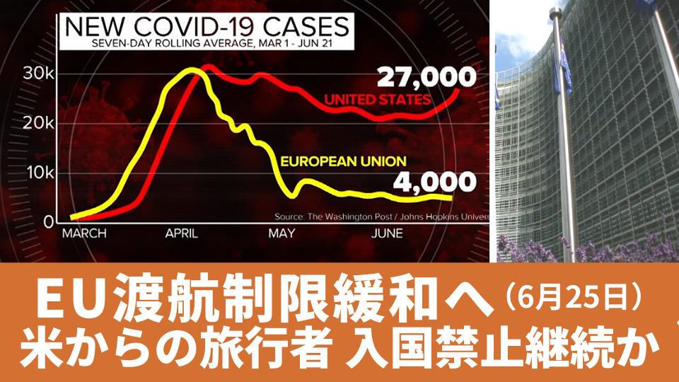 6月25日 EU渡航制限緩和へ 米からの旅行者は入国禁止継続か