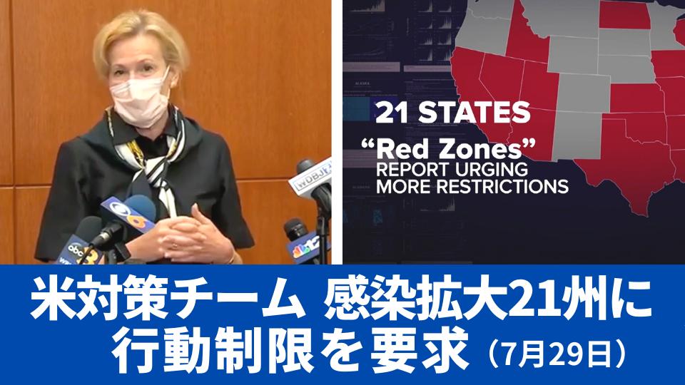 7月29日 新型コロナ対策チーム 感染拡大21州に行動制限要求