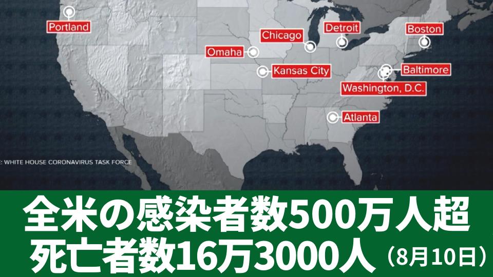 8月10日 全米の感染者数500万人超 死亡者数約16万3000人