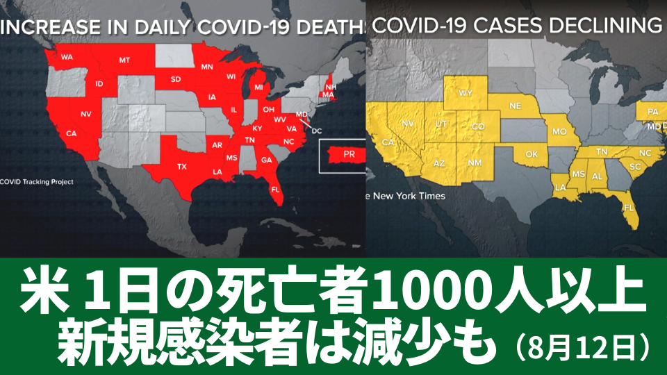 8月12日 新規感染者が減少も 1日の感染死亡者数1000人以上